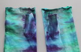 Long Fingerless gloves - ice dye - Tranquil Waters snakeskin
