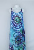 Rayon Slip on Maxi Dress - size Medium- Tranquil Waters centered eye