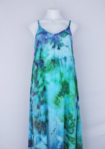 Rayon Slip on Maxi Dress - size Medium- Tranquil Waters crinkle