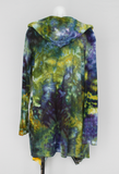 Hooded Cardigan size Medium - ice dye - Turtle Bay crinkle
