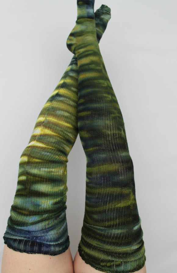 Cotton Thigh High socks - ice dye - Turtle Bay