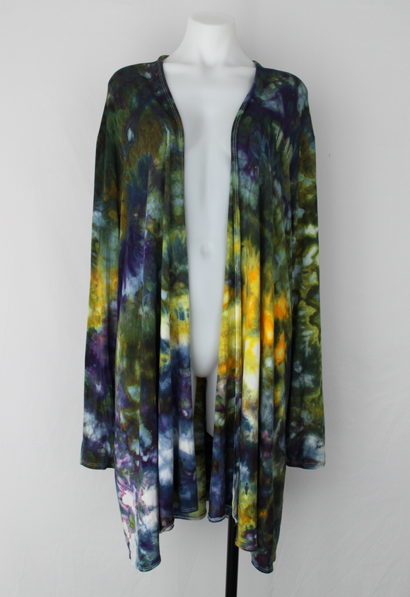 Open front Cardigan size 2XL Ice dye - Turtle Bay crinkle