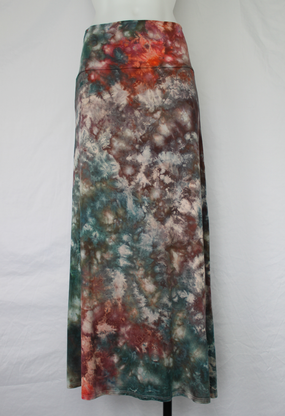 Tie dye Maxi Skirt size Medium - ice dye - Un TEAL Tomorrow crinkle