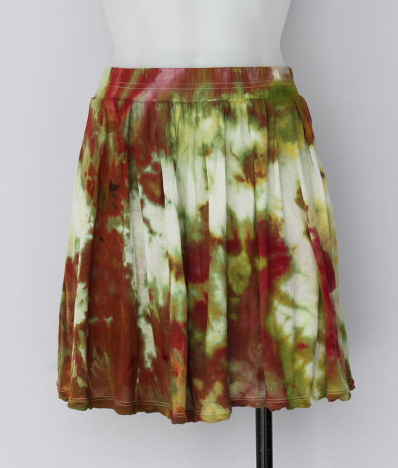 Tie dye Mini Skirt - size Small - ice dye - Waterlilies crinkle