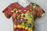 Ladies V neck t shirt - size Medium - Waterlilies crinkle