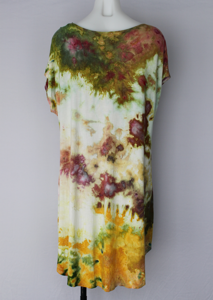 Tie dye Hi Lo tunic - size X Large - cap sleeves ice dye - Waterlilies crinkle