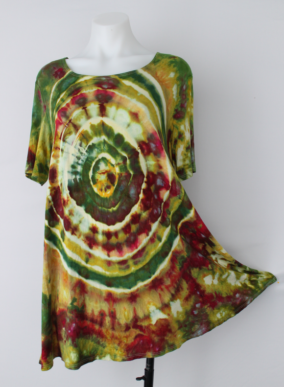 Short sleeve tunic - size Large - ice dye - Waterlilies mega eye
