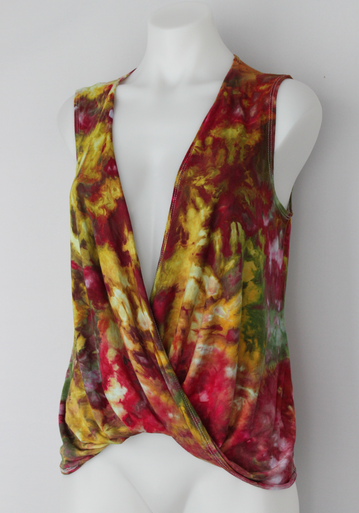 Wrap tunic size Medium - ice dye - Waterlilies crinkle