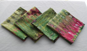 Linen/cotton table napkins - Set of 4 - size Medium - ice dye - Waterlilies snakeskin