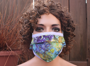 Fabric face mask with Elastic - Water Marks lavender