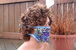 Fabric face mask - Watermarks blue