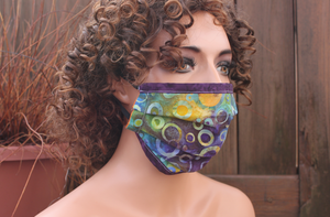 Fabric face mask with Elastic - Water Marks purple