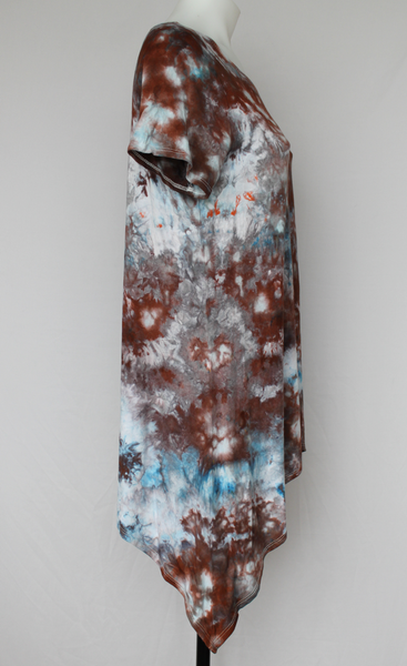 Asymmetrical hem Tunic - size Small - Water's Reflection crinkle