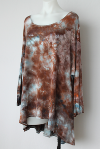 Women's hi lo tunic size 1XL Plus size fashion - ice dye - Water's Reflection crinkle