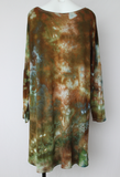Women's hi lo tunic size 1XL Plus size fashion - ice dye - Wilderness crinkle