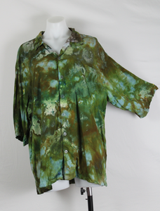 Tie dye Men's X Large button shirt rayon - Wilderness