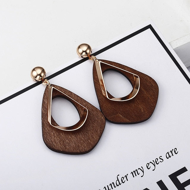 Vintage 2018 women's fashion statement earring wooden earrings for wedding party Christmas gift jewelry wholesale e0368