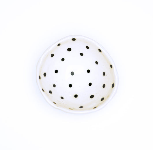 Small Pinch Bowl - Black Dots
