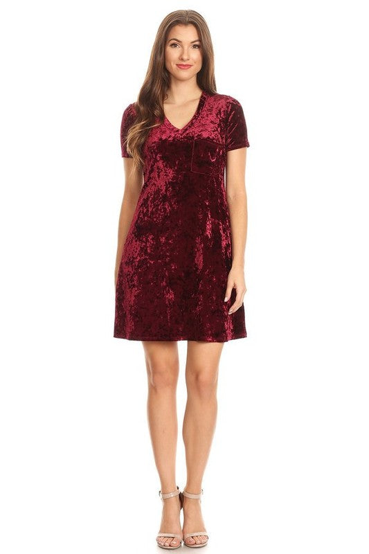 Velvet Dress Short Sleeve