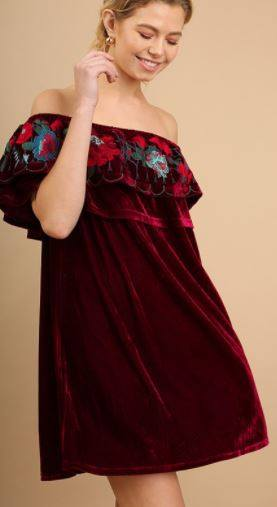 Velvet Embroidery Off the Shoulder Dress