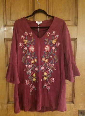 EMBROIDERY BELL SLEEVE DRESS