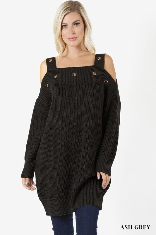 Eyelet Button Sweater