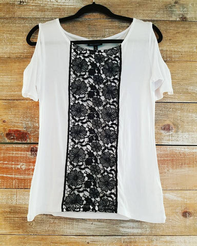 Off The Shoulder Black & White Lace Top