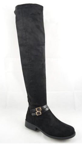 Double Gold Tone Buckle Accent Low Heel Over The Knee Boots