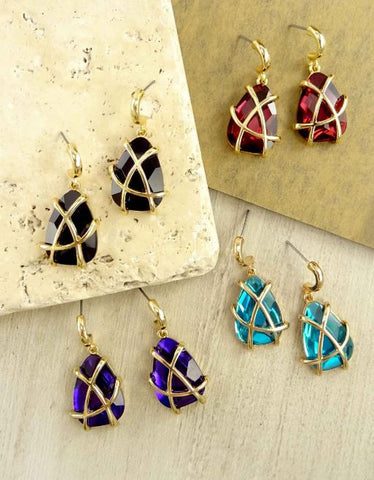 Detailed Dangle Gem Stone Earrings