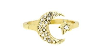 Moon and Star Gold Ring