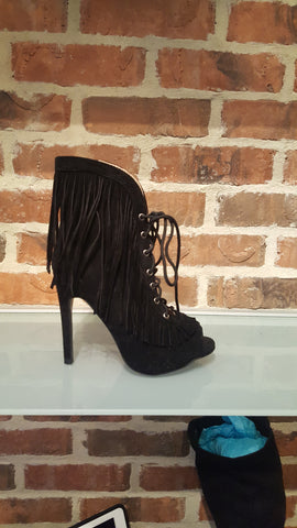Elaine tall suede heel with fringe