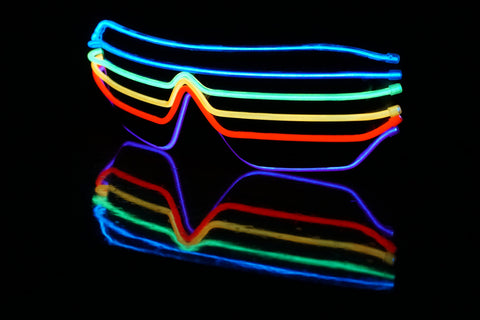 Rainbow Light Up Neon EL Glasses Accessories - Rave Gear