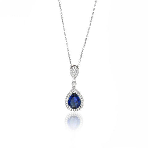 Elegant Azure Teardrop Necklace