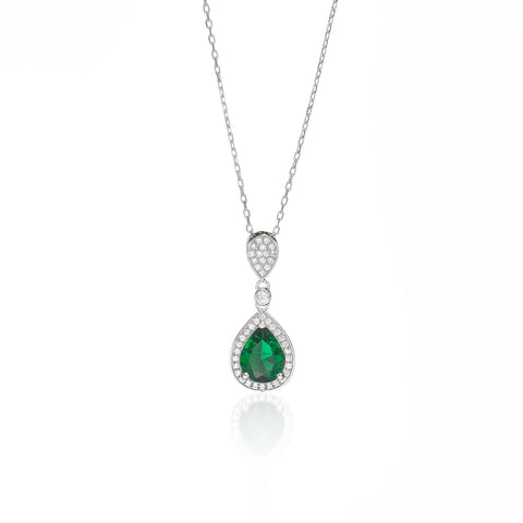 Elegant Emerald Teardrop Necklace