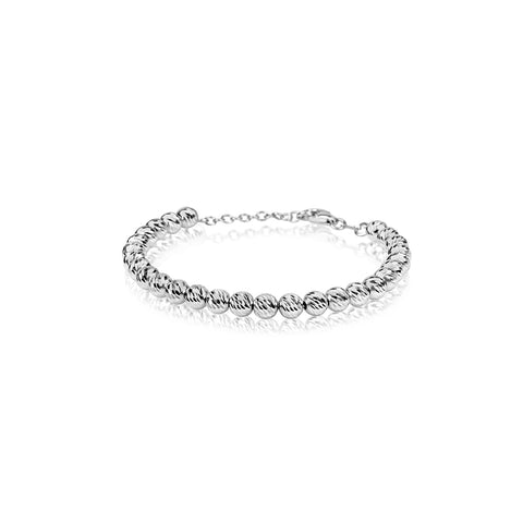 Silver Diamond Cut Bead Bracelet