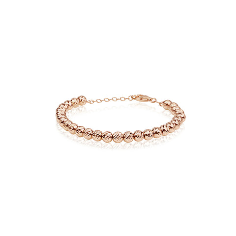 Rose Gold Diamond Cut Bead Bracelet