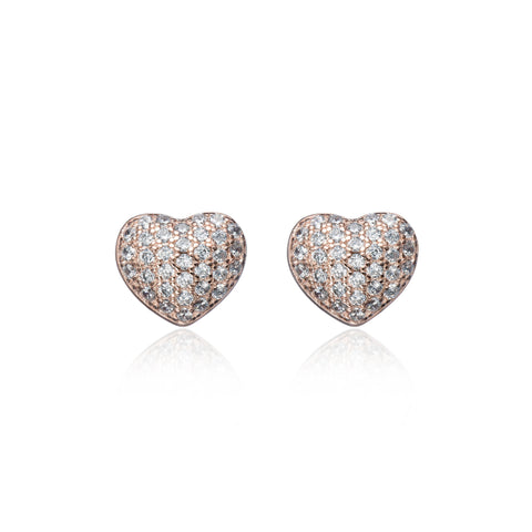 Studded Rose Gold Heart Earring