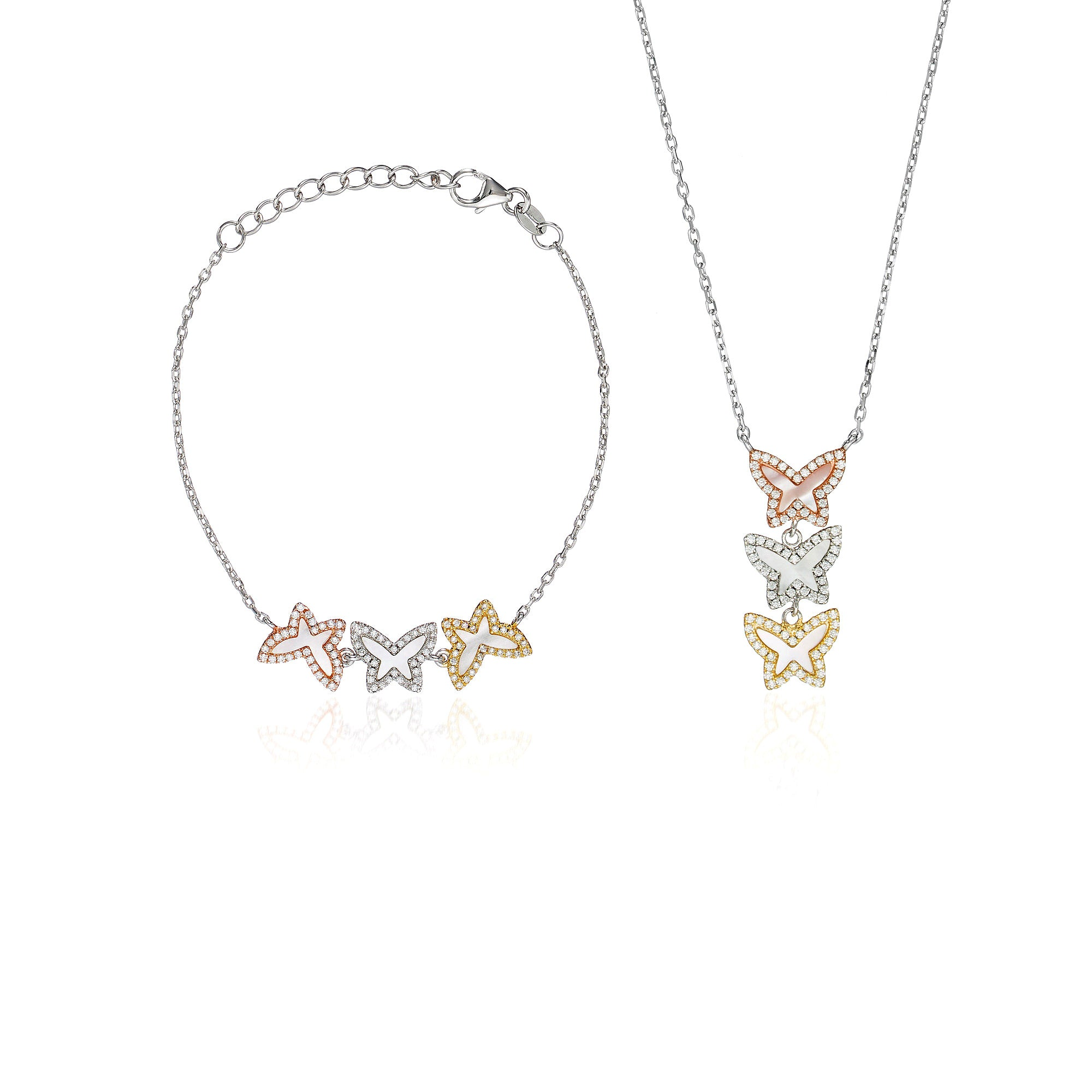 "Mother of Pearl ""Trio of Butterflies"" Set"