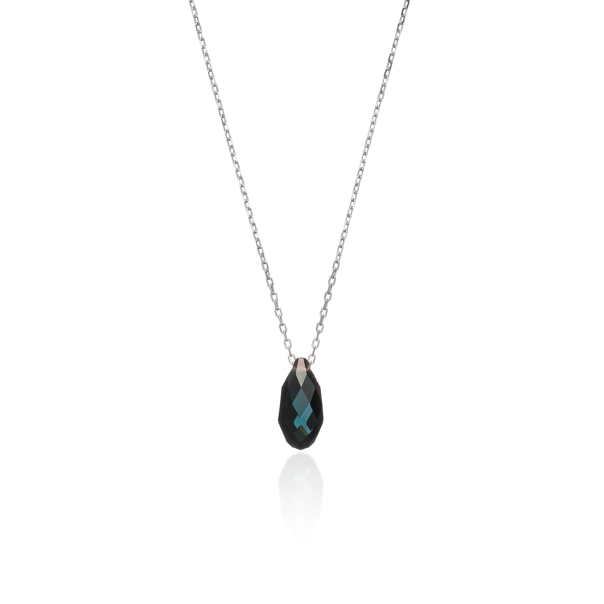 Teal Crystal Drop Necklace