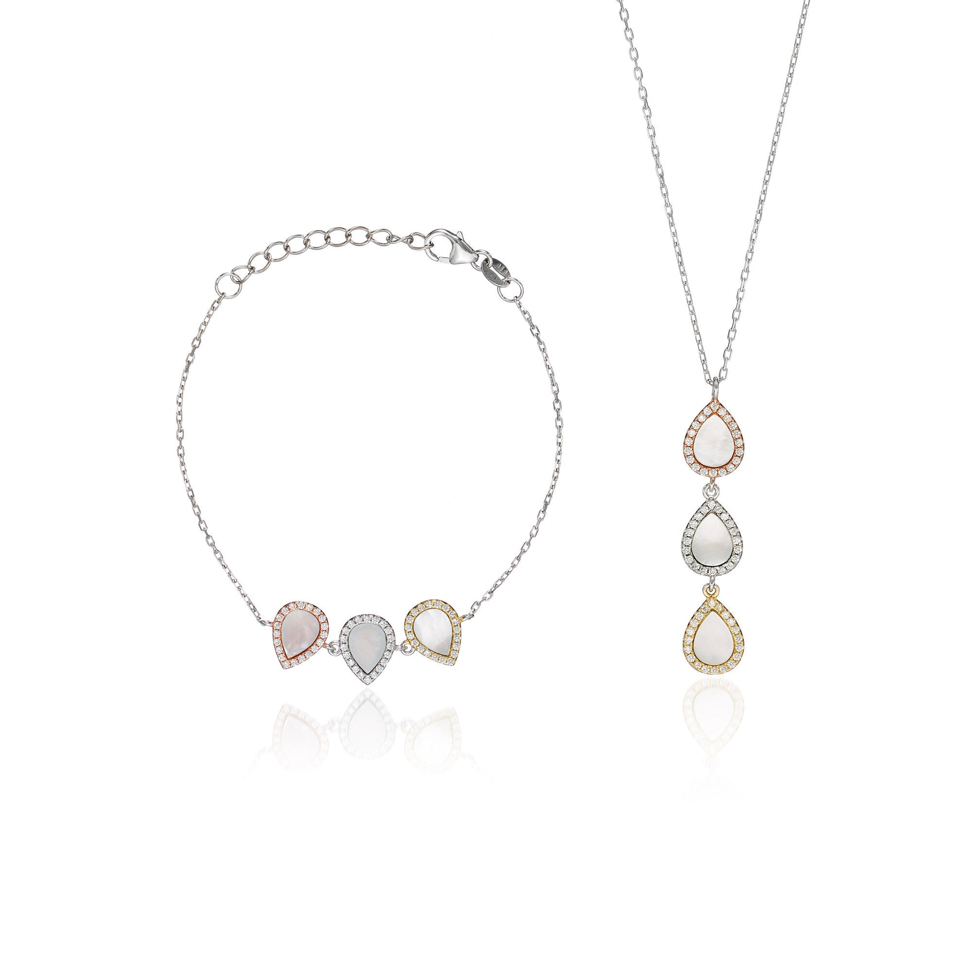 "Mother of Pearl ""Trio Tear"" Set"