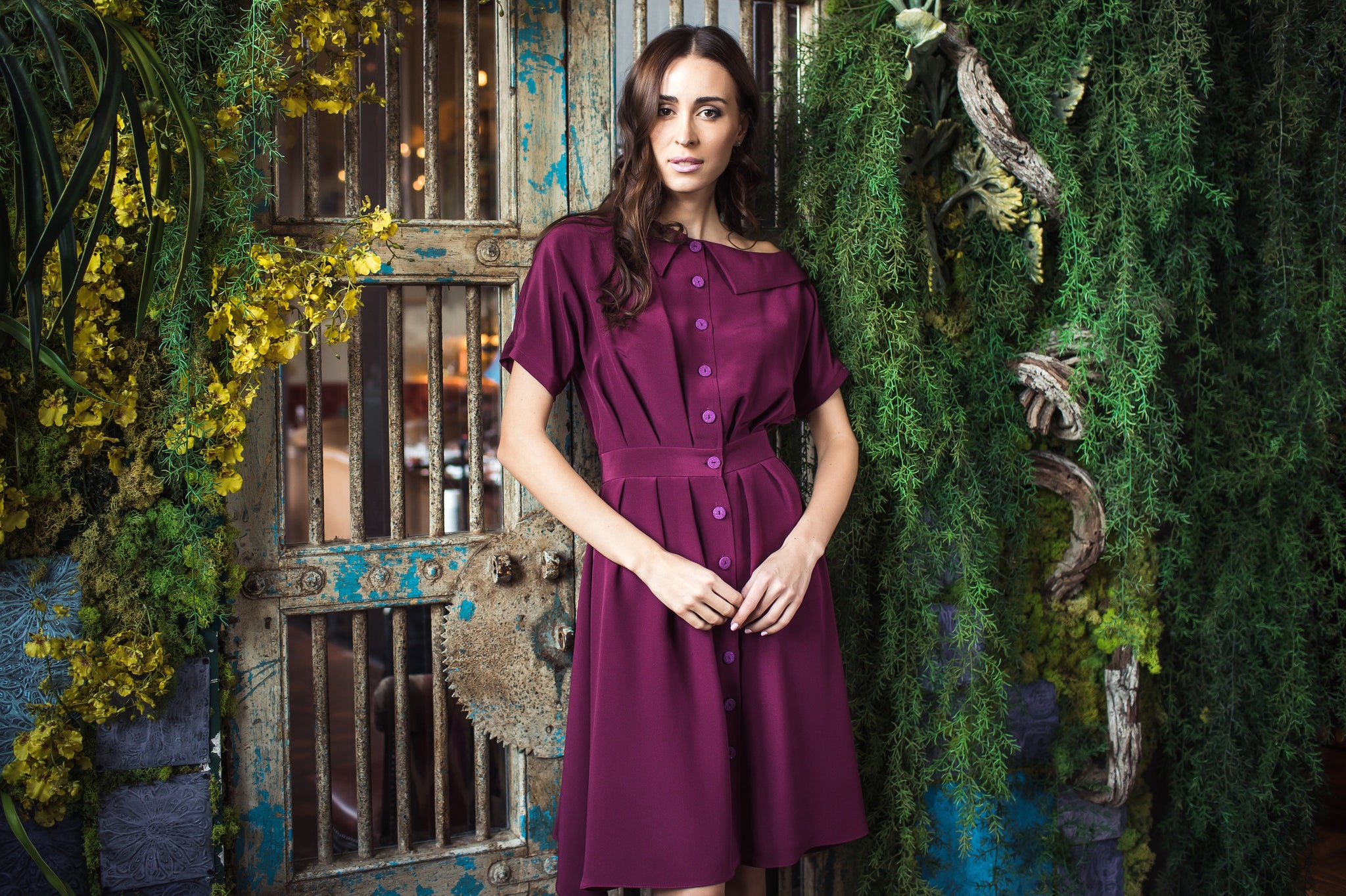 Asymmetric Collar Maroon Silk Dress