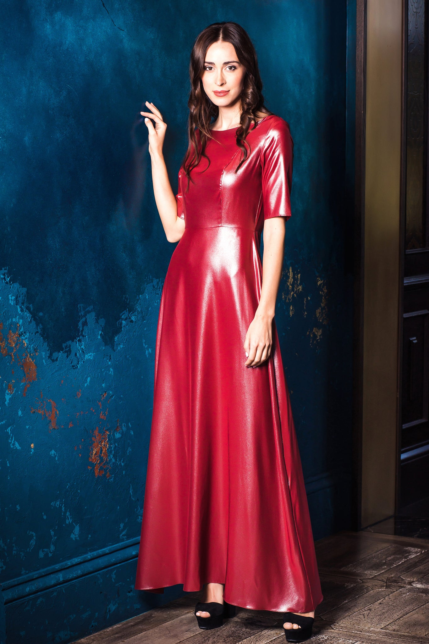 Red Metalic Silk Evening Dress