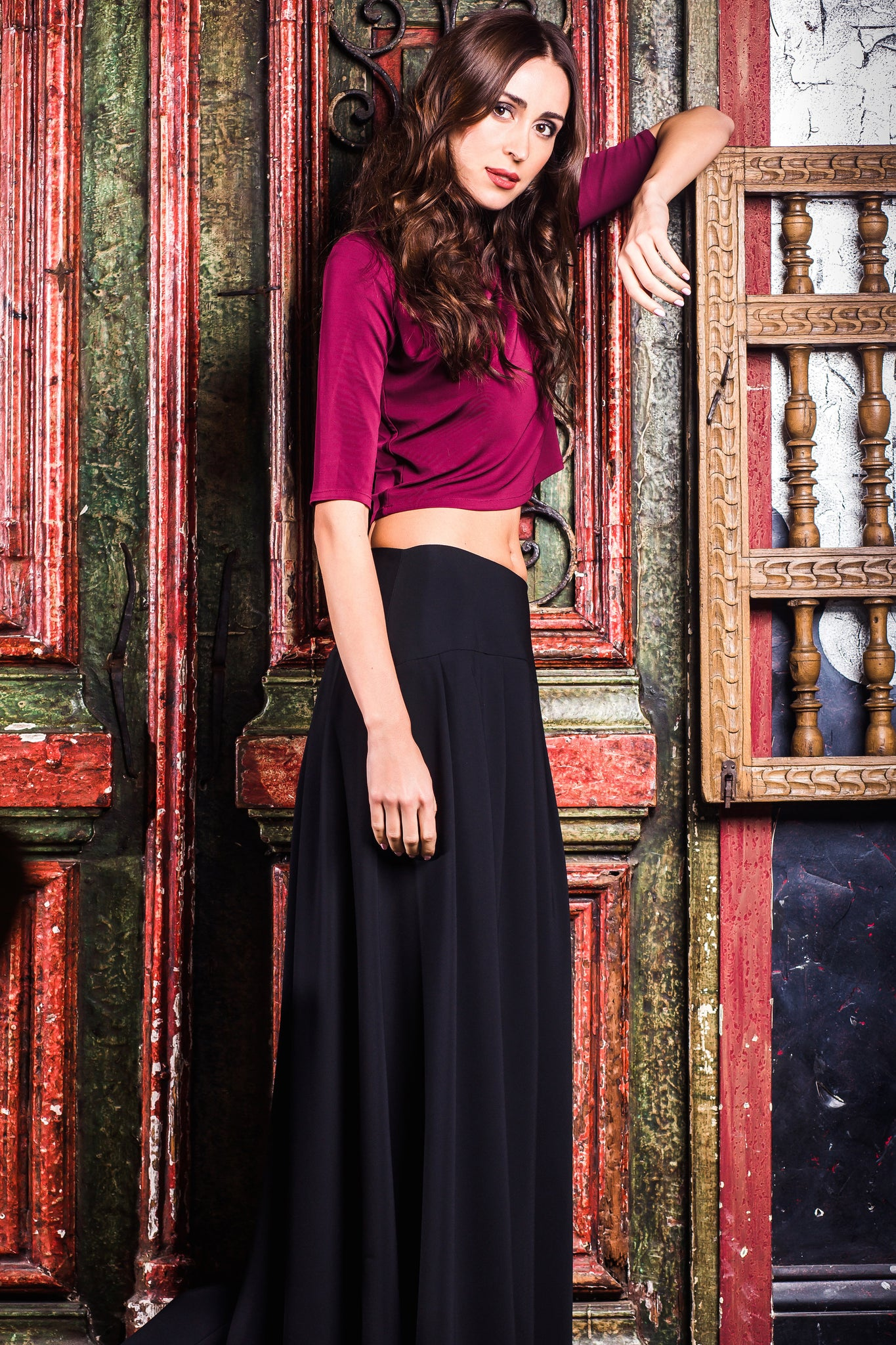 Maroon Stretchy Pleated Crop Top