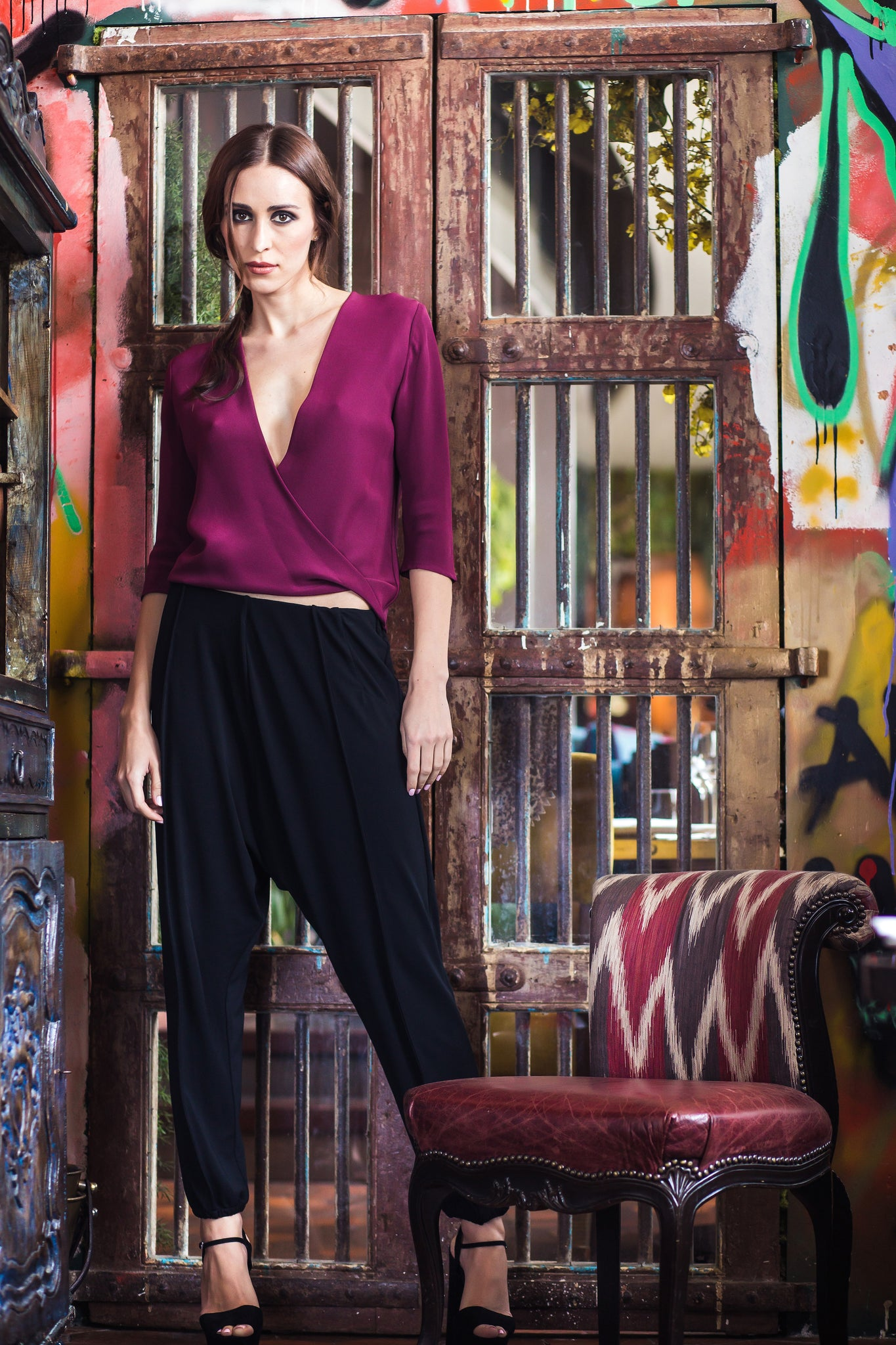 Maroon Silk Twisted Top