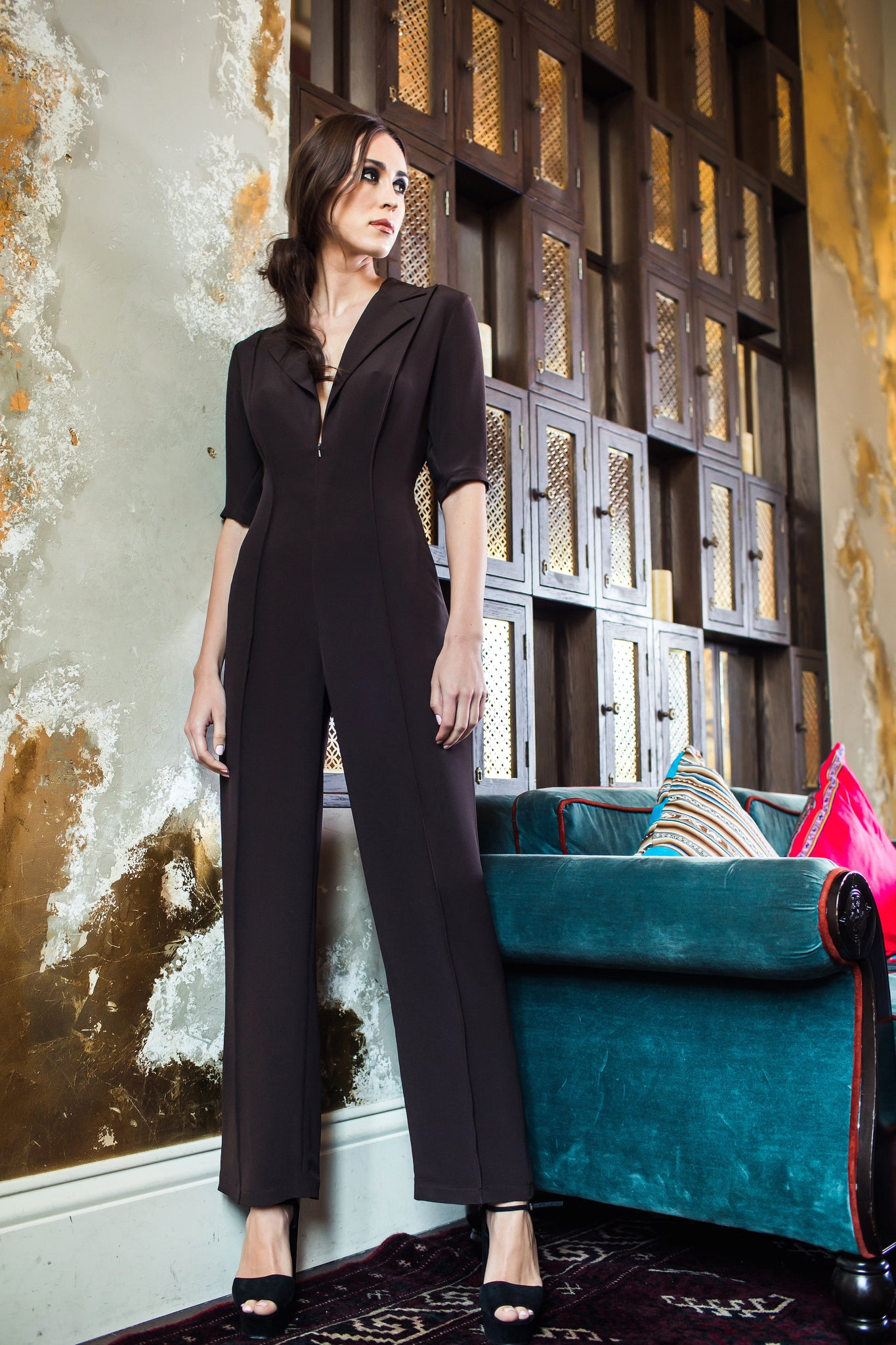 Brown Silk Jumpsuit With Classic Collar