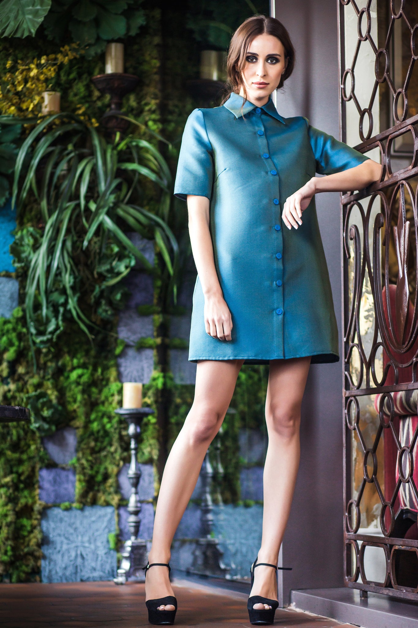 Blue-Green Metalic Short Dress
