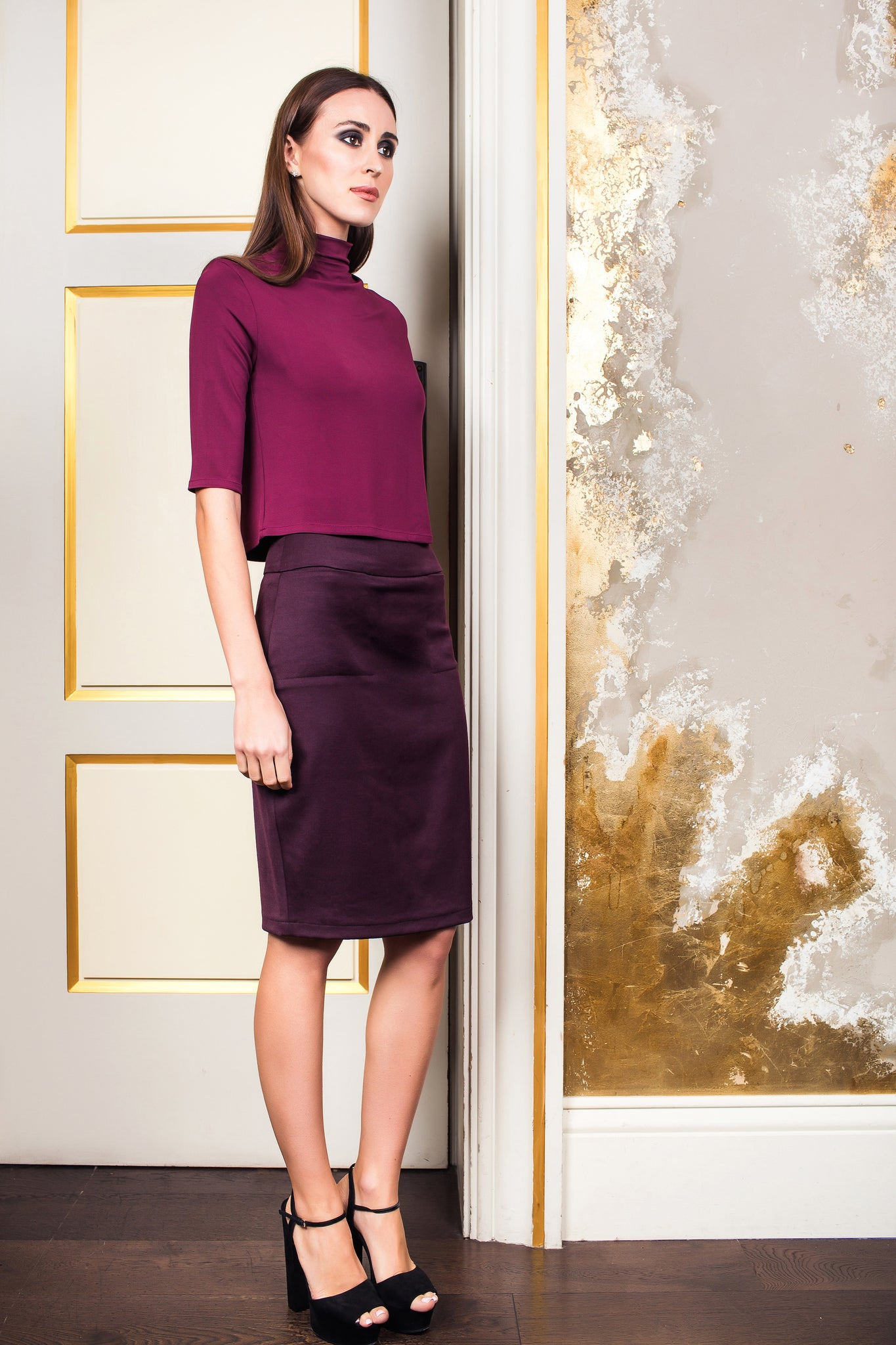 Bordo Classic Skirt With Front Pockets