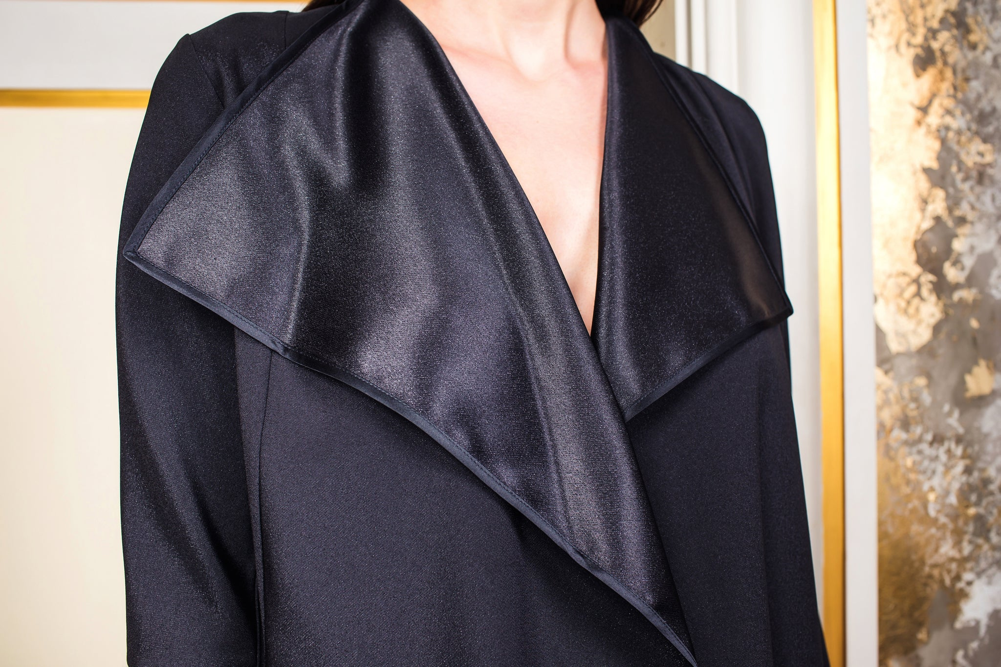Two-Sided Black Metallic Flared Jacket