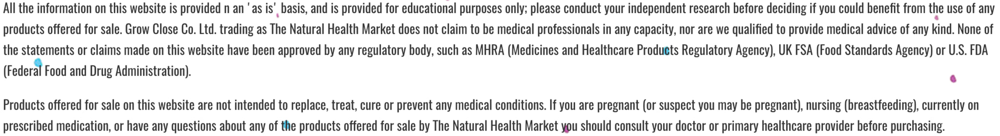 The Natural Health Market Product and Company Disclaimer