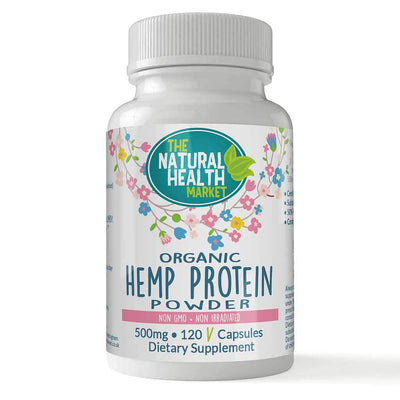 Organic Hemp Protein 500mg Capsules 120 Capsules By The Natural Health Market